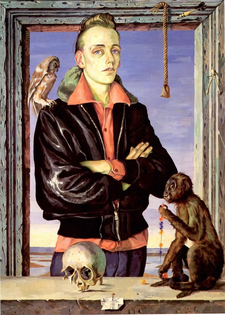 """""""Boy with Monkey and Bird"""", 1956 This painting utilizes artistic traditions - a trompe-l'oeil frame combined with a Renaissance influenced portrait - but with the addition of a contemporary figure as the painting's focal point. This young man of the 1950's was chosen a s a subject for his style, his leather jacket and his attitude. The result is a compelling blend of art historical influences and modern sensibility.   #art #realism #portrait #Canadian art # National Gallery"""