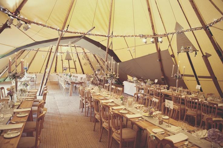 A reception in tepees, at Oatlands Park Hotel, Weybridge