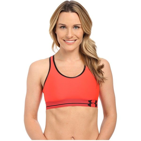 Under Armour UA HeatGear Alpha Bra Women's Bra ($18) ❤ liked on Polyvore featuring activewear, sports bras, orange, racerback sports bra, under armour sports bra, under armour sportswear, racer back sports bra and orange sports bra
