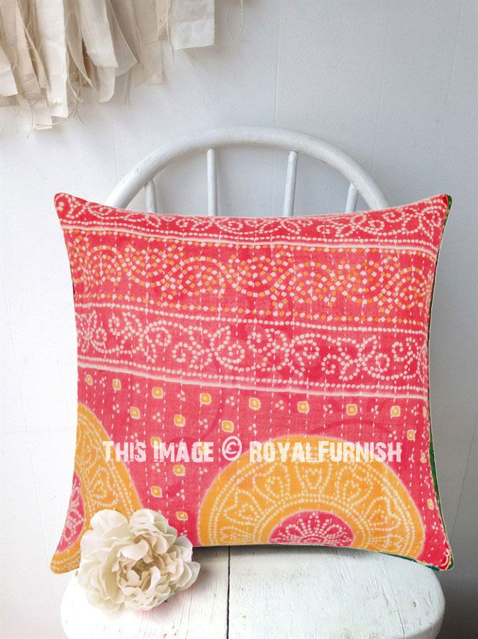 Red Bandhani Printed Bohemian Cotton Kantha Throw Pillow Cover And Add Comfort Style To Room Furniture Fast Shipping Worldwide Usa Uk Canada
