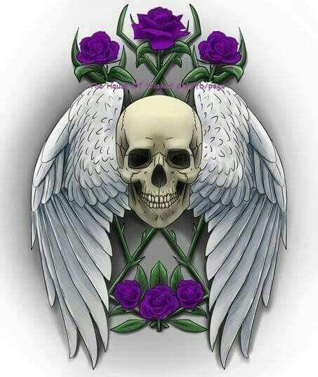 Skull wings purple roses