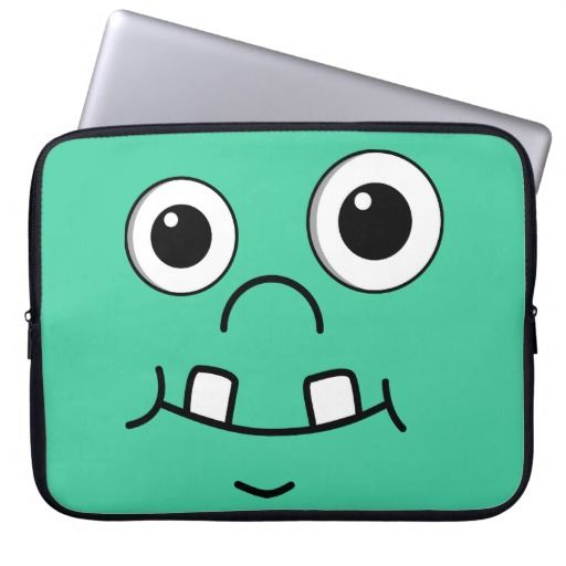 Funny Cartoon face Computer Sleeves by Mr. High Sky on Zazzle  @zazzle #zazzle #fun #sweet #laptop #apple #mac #computer #sleeve #funny #face #cartoon #drawing #illustration# #eyes #mouth #nose #comical #black #green #color