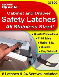 Stainless Steel Baby and Earthquake Safety Latches beat the heck out of the plastic ones that break easily. $12.95