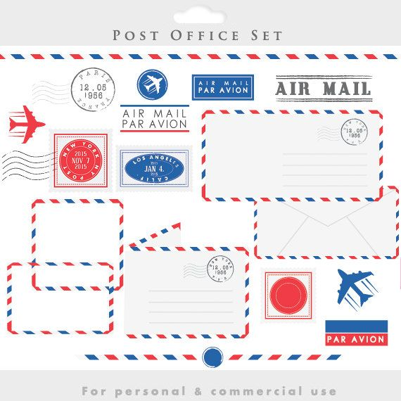 Post office clipart - stamps mail clip art postal elements postage air mail par avion vintage letters borders frames plane post office