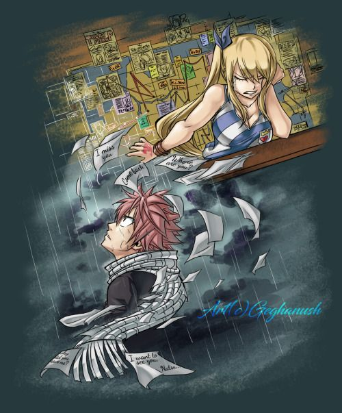 Nalu week Day 1 - LongingI didn't plan to participate, but decided to draw at least one art for nalu week. Enjoy! :)