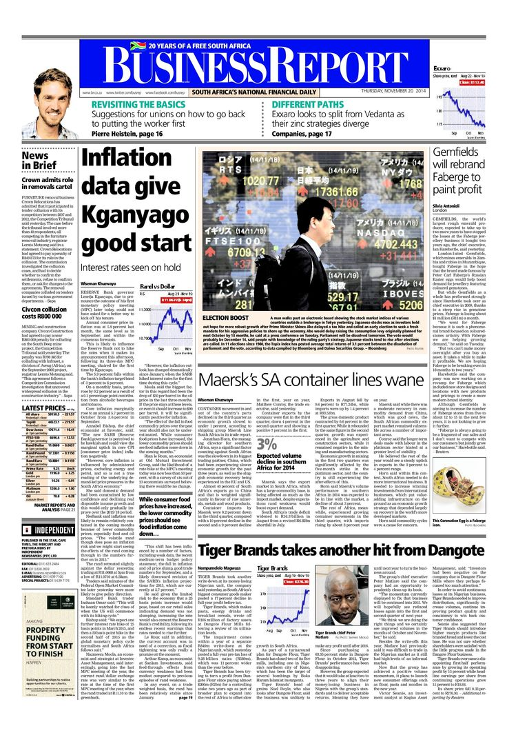 Today's Business Report newspaper front page (November 14, 2014) deals with South African Reserve Bank Governor Lesetja Kganyago's first Monetary Policy Committee statement, Tiger Brands, Maersk and Gemfields.  To read these stories and more click here: http://www.iol.co.za/business