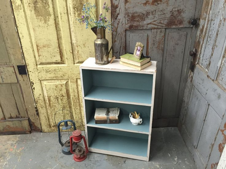 Small White Bookcase, Solid Wood Bookshelf, Painted Furniture, Distressed Furniture by VintageHipDecor on Etsy