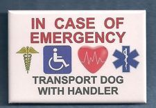 IN CASE OF EMERGENCY TRANSPORT DOG WITH HANDLER --- service dog patch PIN button
