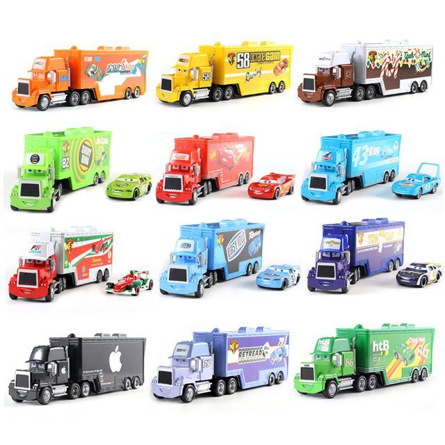 Disney Pixar Car 2 3 Toy Lightning Mcqueen Mack Truck King 1 55