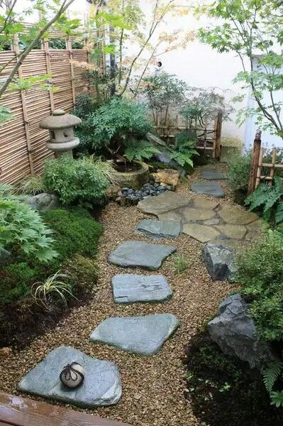 Step stones mixed with paver area and plants                              …