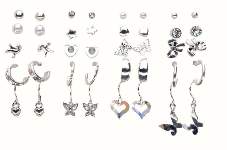 Mega Pack of 20 Silver Earrings