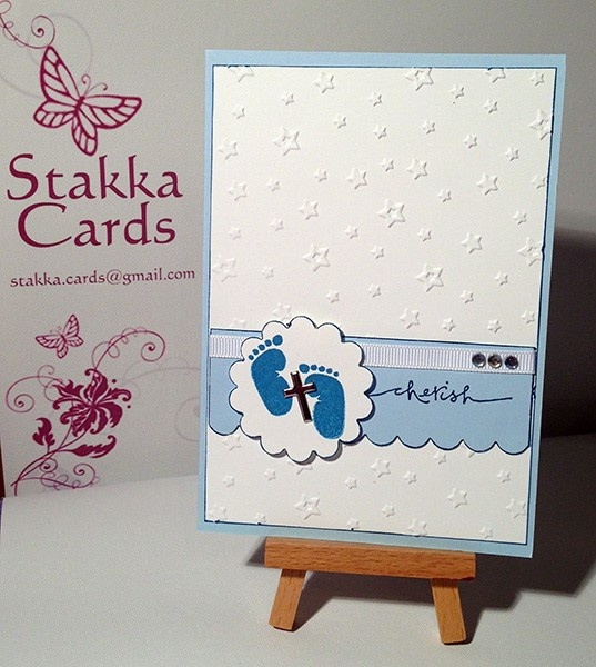 Boy's Christening Card from Stakka Cards - Visit www.madeit.com.au/StakkaCards for this and many more amazing handcrafted cards!