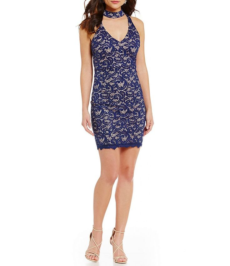 Sequin Hearts Choker Neckline Two-Tone Lace Sheath Dress