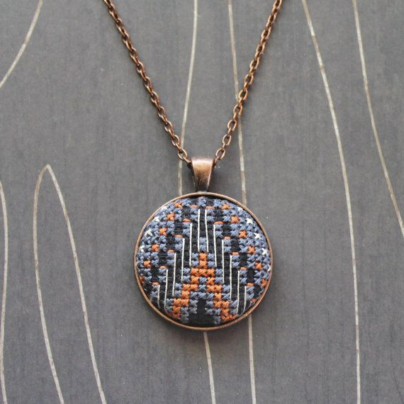 Mountain Cross stitch pendant necklace southwest by TheWerkShoppe, $34.00