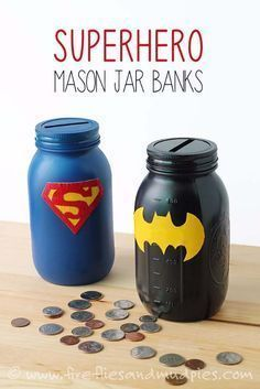 DIY Christmas Gifts for Kids - Homemade Christmas Presents for Children and Christmas Crafts for Kids | Toys, Dress Up Clothes, Dolls and Fun Games | Step by Step tutorials and instructions for cool gifts to make for boys and girls | Mason Jar Super Hero Banks | http://diyjoy.com/diy-christmas-gifts-for-kids #artsandcraftsforboys