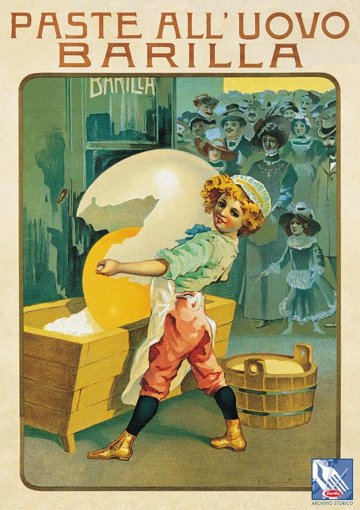 Un garzone dai ricci biondi che apre un grande uovo: il primo marchio aziendale della pasta #Barilla nasce nel 1910.