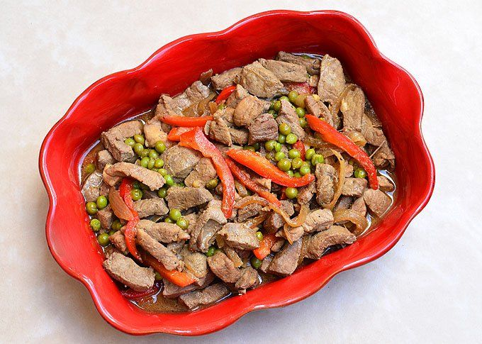 Igado is a Filipino dish made with liver, pork tenderloin, green peas and bell peppers in soy sauce and vinegar
