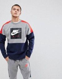 0e87f46895 Nike | Nike Air Zip Through Hoodie With Arm Print In Grey 886044-092