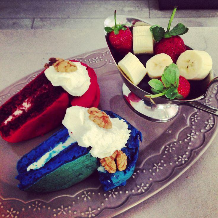 Red & Blue Velvet Pancakes