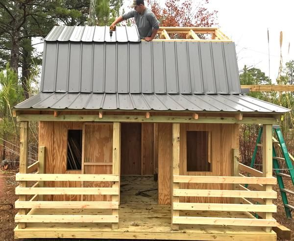 The perfect playhouse for the child who loves farm life. This 2 level barn clubhouse plan includes a front porch, attached silo and opening for a slide!