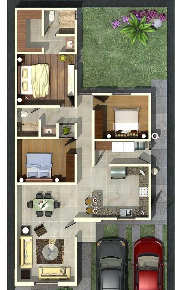 Planta de casa pequena com três quartos e cozinha americana; o fundo dos terrenos ainda pode ser aproveitado para uma en 2020 Casas Casas pequeñas Fachada casa pequeña