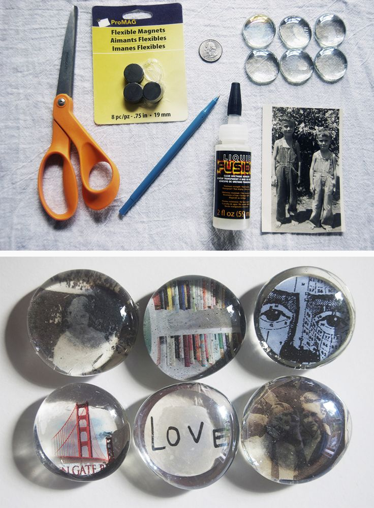 "Make your own tiny Photo Fridge Magnets. You know what they say, ""Whenever possible, use photos to hold up other photos!"" It's super simple with this DIY for absolutely anyone."