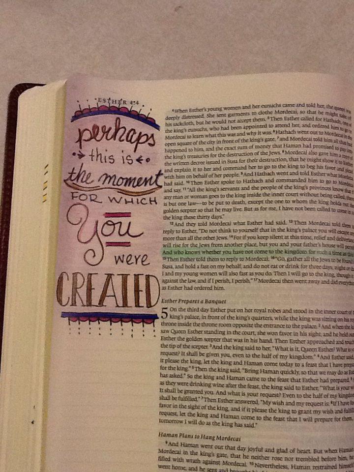 Esther 4:14. Sherrie Bronniman - Art Journaling: In My Bible