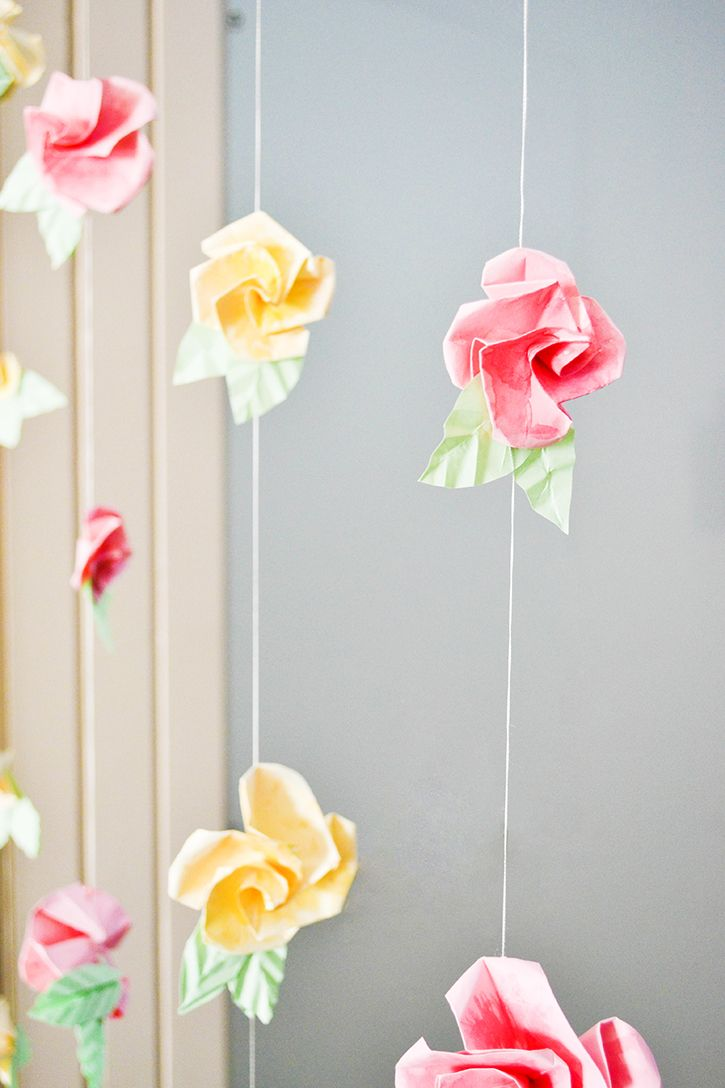 59 best origami and paper crafts images on pinterest bird diy origami flower curtain for a whimsical spin to your decor craft a doodle doo amipublicfo Gallery