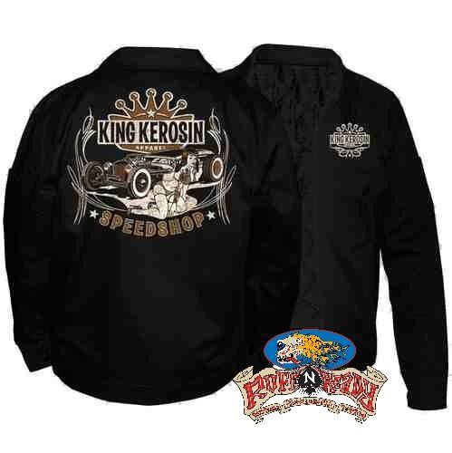 """Don't get left behind! Speed it up with Speed Shop Embroidered Jacket by King Kerosin  #rockabillyautumn #RuffnReadyAus #AutumnFashion #KingKerosin #SpeedShopEmbroideredJacket #fashionstatement"""
