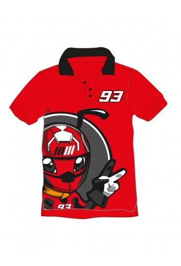 Sports polo for young Marc Marquez fans. Red 100% cotton polo, with black collar and a large Ant print, the Marquez mascot. The rider's race number 93 is featured on the chest and back, along with the Marquez writing on the back.