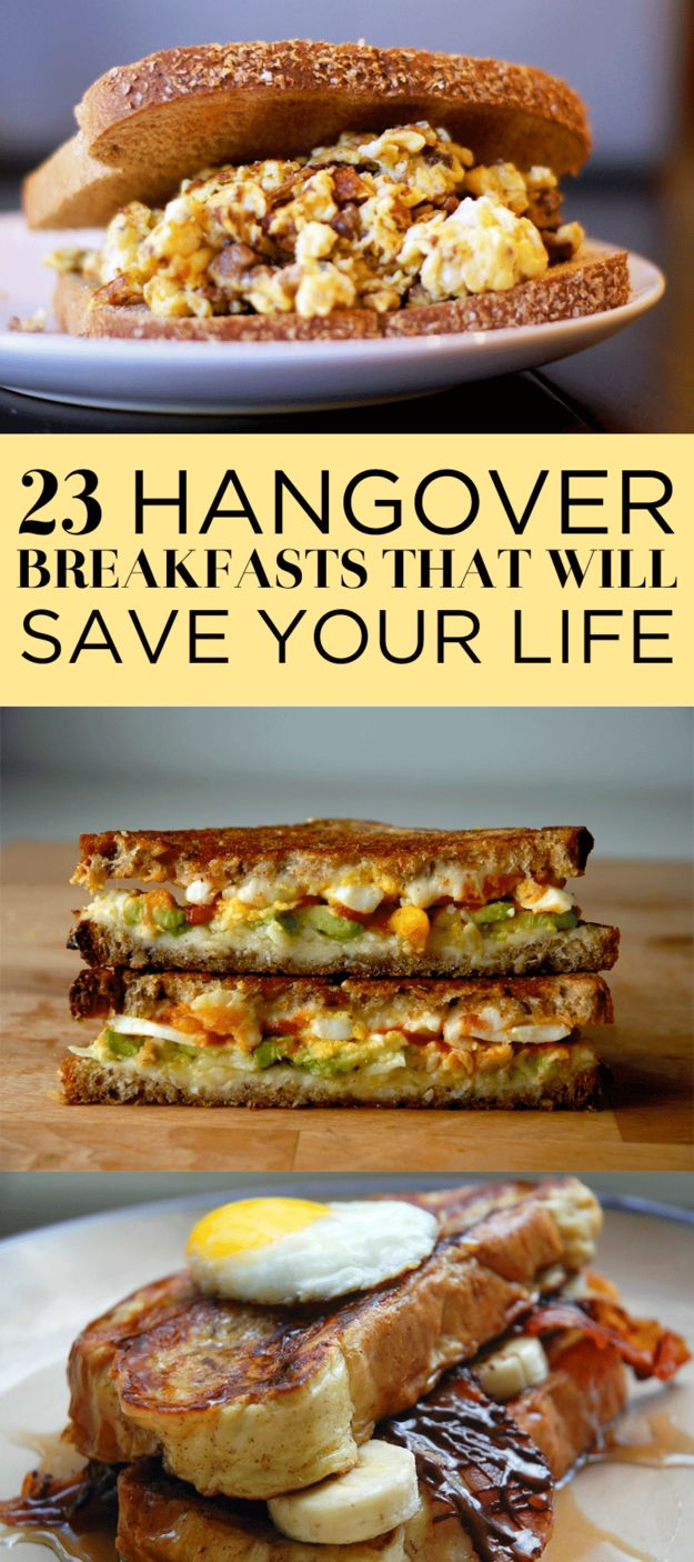 23 Breakfasts That Might Actually Save YourLife So you had a big night last night! And now you want to die. But this egg sandwich? This sandwich wants you to LIVE. Courtesy of Buzzfeed 1. The Ultimate Egg-In-A-Hole Hangover Burger  iamafoodblog.com True beauty. Get the recipe. 2. Onion Ring Fried Eggs  bsinthekitchen.com True …