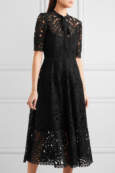 Temperley London | Berry pussy-bow guipure lace midi dress | NET-A-PORTER.COM