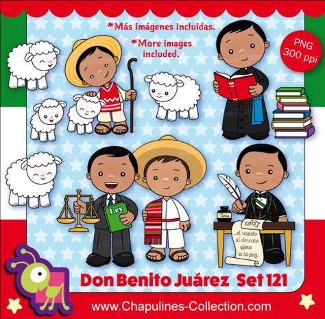 Clipart de Benito Juárez, Presidente de México, Historia de México. Este set incluye 20 imágenes. 1. 4 imágenes de ovejas. 2. Benito Juárez de niño, (como pastor). 3. 2 imágenes de Benito Juárez como seminarista, estudiando. 4. 2 imágenes de Benito Juárez como abogado, defendiendo los derechos de los indígenas. 5. 6 imágenes de Benito Juárez como presidente. 6. Una pila de libros. 7. 2 escritorios. 8. 1 letrero. Las imágenes son archivos PNG con fondo transparente. Los personajes miden 10...
