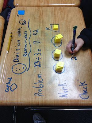 Have kids divide with remainder and use multiplication facts to solve for divison on their desks!