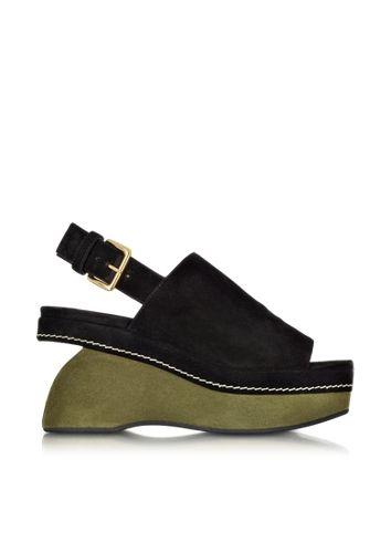Marni+Black+and+Green+Suede+Shaped+Wedge+Sandal