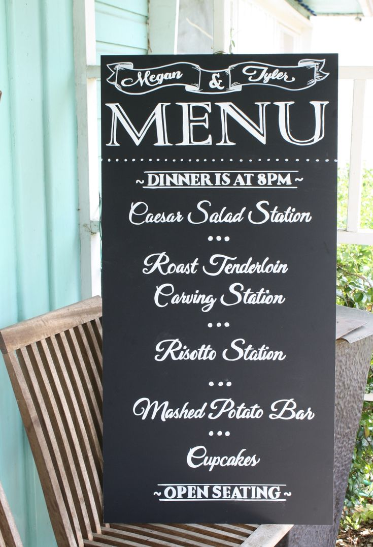 Wedding Menu Chalkboard