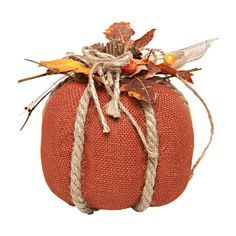 """Fall colors for the win! Burlap Pumpkin with Maple Leaves Centerpiece, Orange, 7"""""""