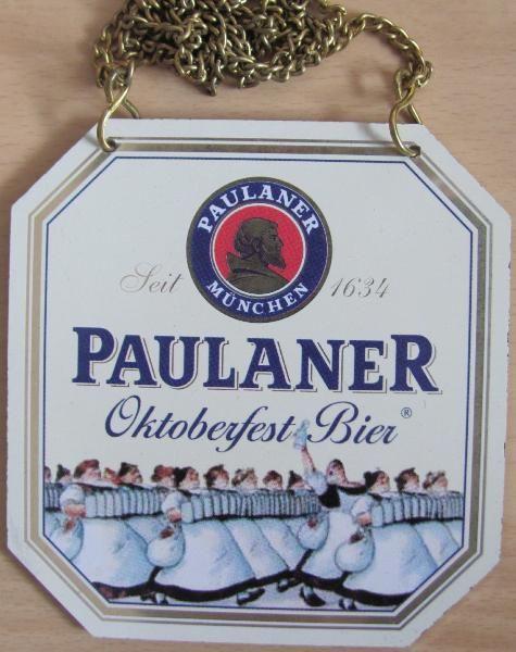 Paulaner - Oktoberfest Bier - Zapfhahnschild 9 x 9,5 cm Blech