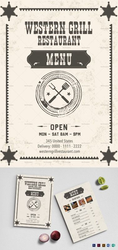 Western Grill Restaurant Menu Template  Formats Included : Illustrator, InDesign, MS Word, Photoshop, Publisher - File Size : 8.27x11.69 Inchs