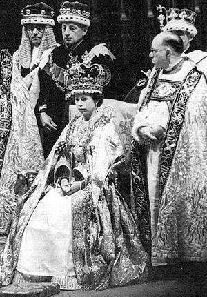 1953, Queen Elizabeth Coronation, she doesn't look happy to be queen, imagine that