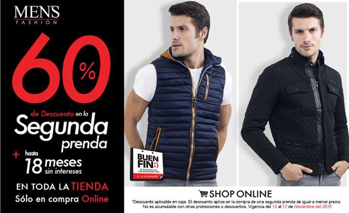 ¿#Chamarra o #chaleco? No hay problema, llévate la segunda prenda con el 50% OFF en sucursal o 60% en tienda online. Tú decides. Visítanos o da clic: www.mensfashion.com.mx  #BuenFin #Moda #Fashion