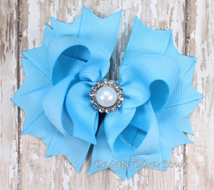 Blue Hair Bow, Boutique Hair Bow, Classic Pearl, Girls Hair Bow, Light Blue Bow, Toddler Hair Bow, Girls Hair Bow, Boutique Hair Bow by DaintyDivaBows on Etsy