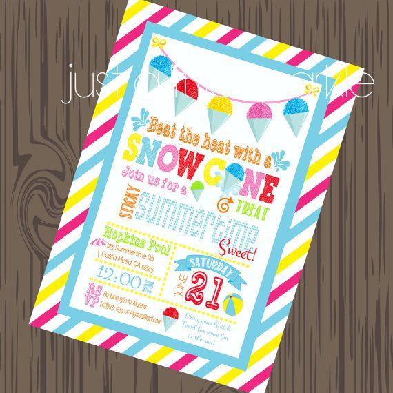 Snow Cone Invitation, DIY, Pool Party Invite, Summer