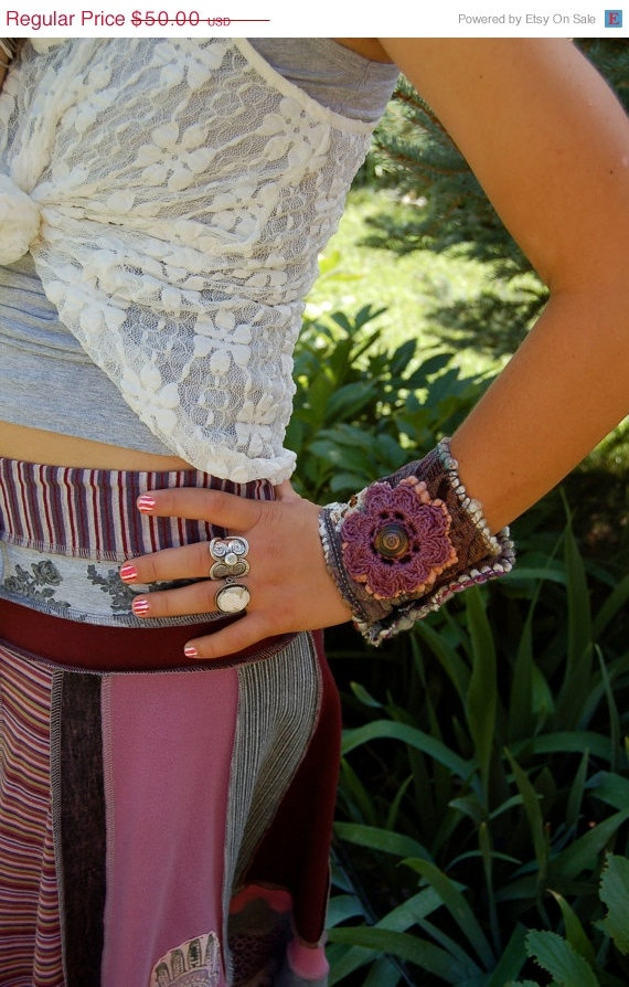 CIJ Sale Eco Cuff BRACELET  repurposed fabric  beaded by zasra, $42.50