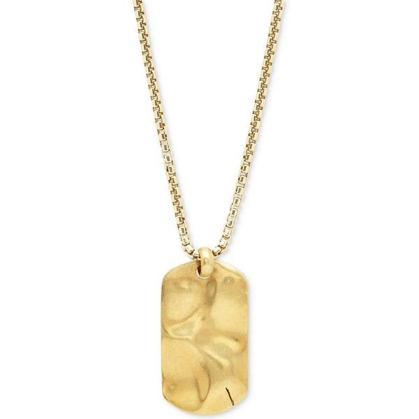 Degs & Sal Men's Dog Tag Pendant Necklace in 14k Gold-Plated Sterling... ($180) ❤ liked on Polyvore featuring men's fashion, men's jewelry, men's necklaces, gold, mens sterling silver necklace, mens watches jewelry, mens cuban link chain, mens dog tag necklace and mens pendant necklace