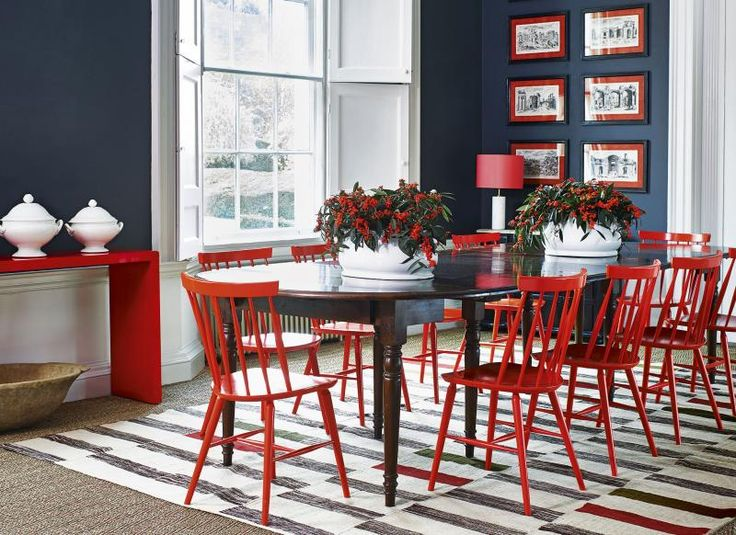 Best 25 red dining chairs ideas on pinterest polka dot for Red dining room designs