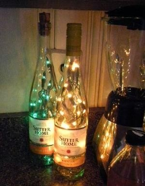 Recycled wine bottles turned into lamps.