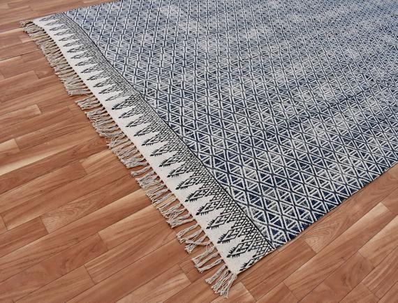 Handmade Large 5x8 Ft Indin Rug Runner Mat Carpet Area Rug Home Decore Block Print Rug Floor Rugs Large Size Rug Durries Rug Runner Contemporary Rugs Patterned Carpet
