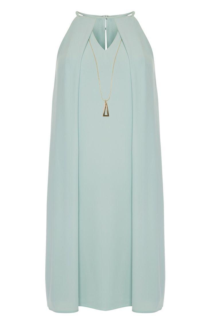 Mint Cutout Necklace Swing Dress