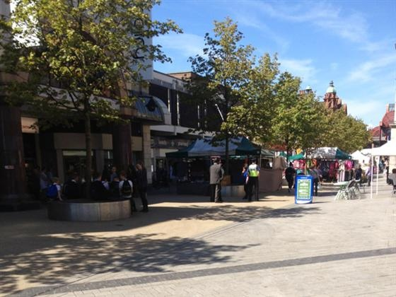 Redhill town centre on a sunny day